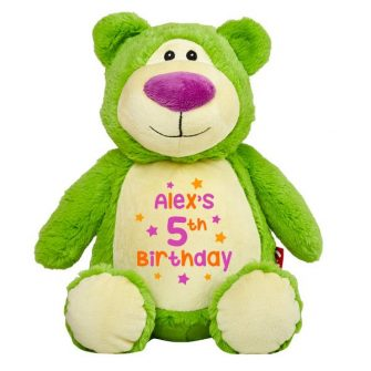 personalised green teddy bear