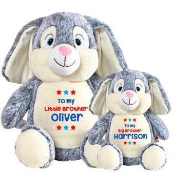 personalised grey rabbit soft toys