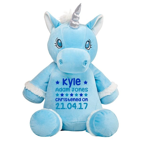 Unique Newborn Baby Boys Gifts Personalised Blue Unicorn