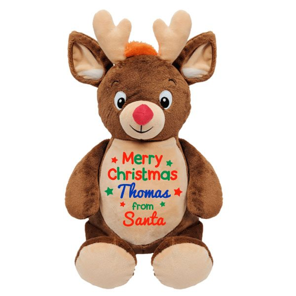 Personalised Christmas Reindeer Soft Toy Newborn Baby