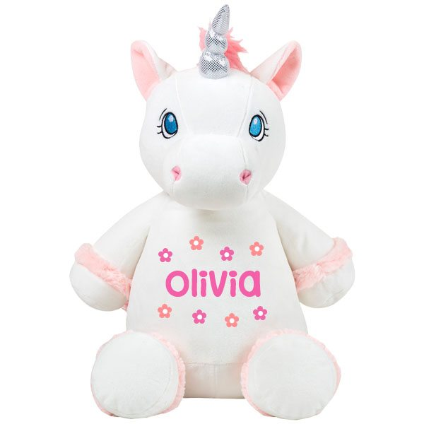 Unicorn Toys For Girls : Personalised girls gifts white unicorn soft