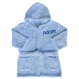 personalised blue baby dressing gown