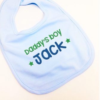 personalised blue baby bibs daddy