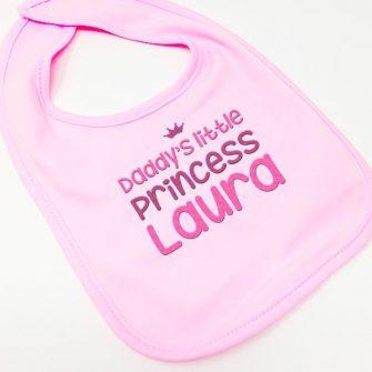 personalised pink baby bibs
