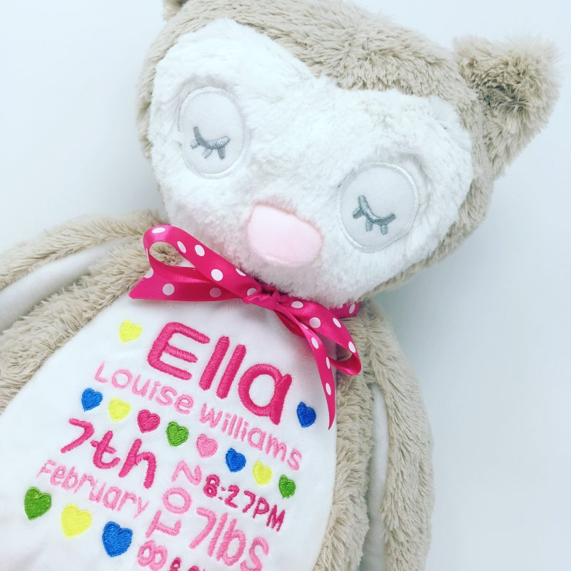 personalised owl soft toy uk