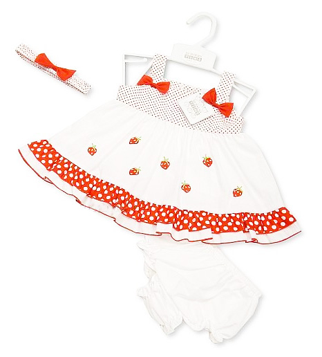 02d804545 Girls Red Strawberry Dress Set