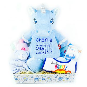 personalised baby boy gift hampers, personalised baby boy hampers