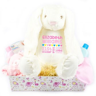 personalised baby girl hampers, personalised baby girl gift hampers